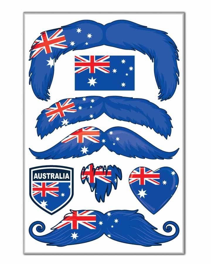 Australia Flag Moustache Tattoos