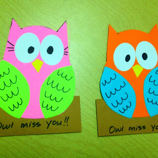 """""""owl miss you!"""" cards for students on the last day of school!!"""