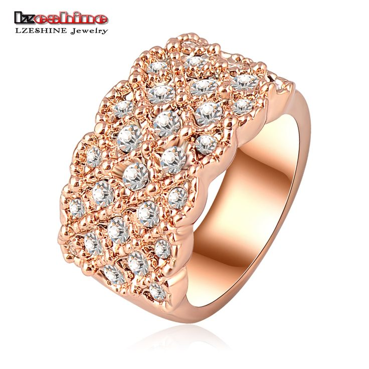 Unique Luxury  Rose Gold Plating Engagement  Wedding Rings With Austrian Crystals Charm Jewelry Ri-HQ0062