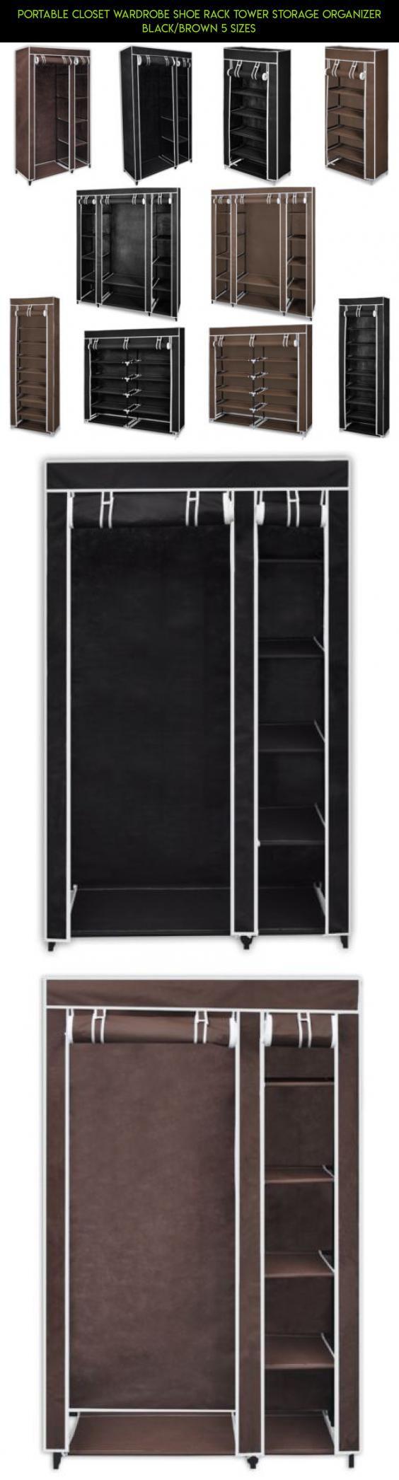 Portable wardrobe on wheels - Portable Closet Wardrobe Shoe Rack Tower Storage Organizer Black Brown 5 Sizes Camera