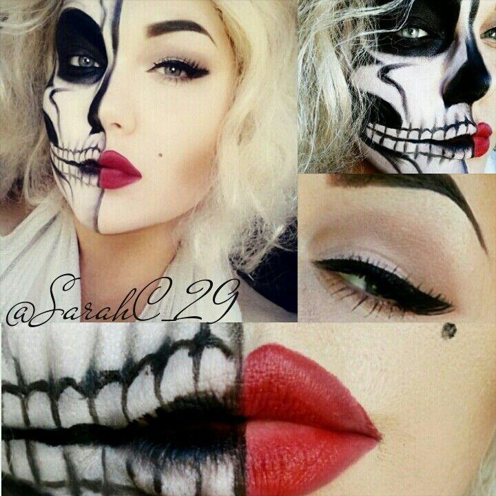 121 best Half Face Sugar Skull Makeup images on Pinterest ...