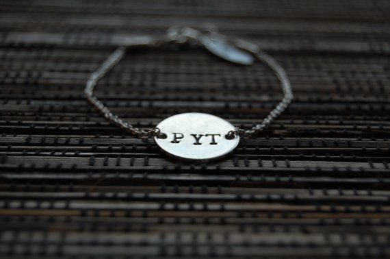 Sterling silver chain bracelet with handstamped disc by AasJewelry