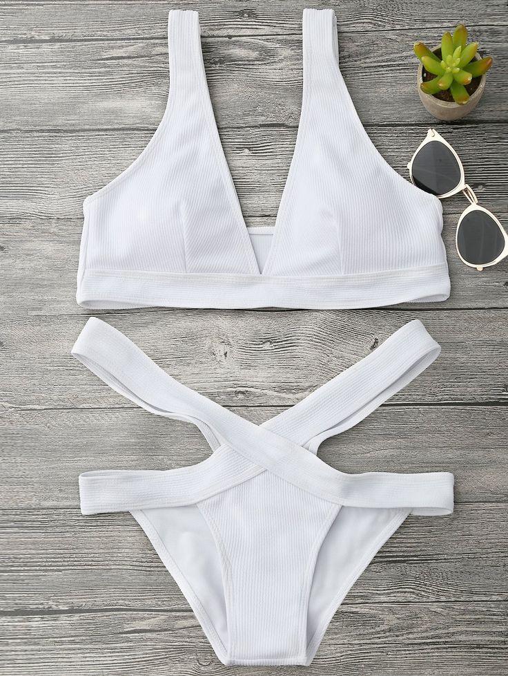 Midi Bikini Con Escote Pico Con Tren Inferior De Vendaje Blanco: S | ZAFUL