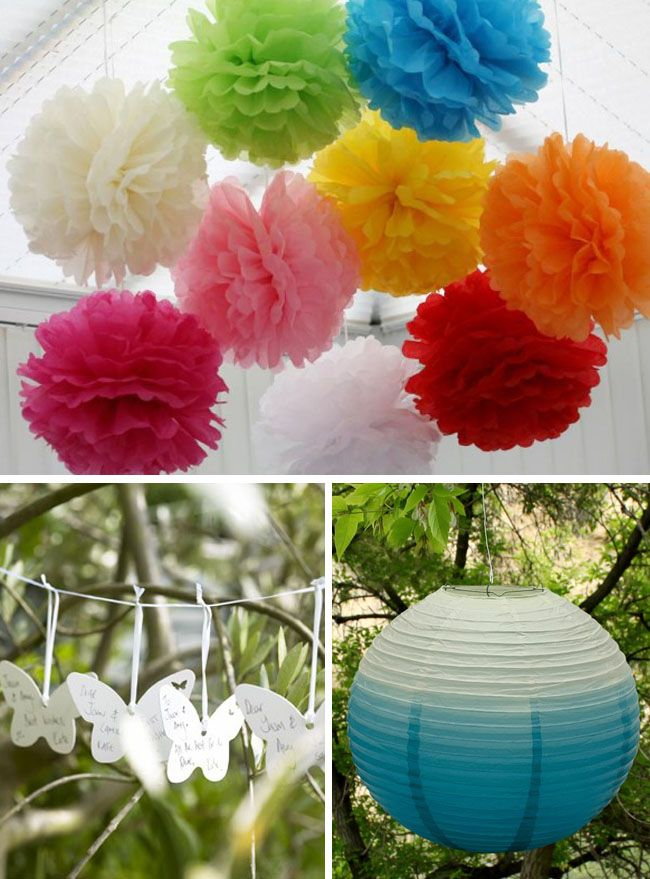 Ideas para colgar decoracion boda evento vasara pompones for Adornos colgar pared