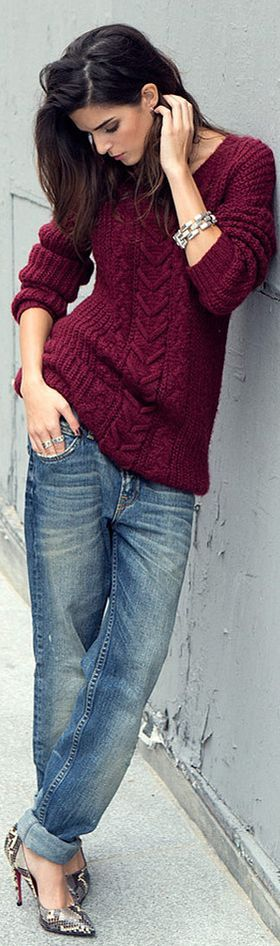 Burgundy sweater - so comfy! Could wear it with my grey jeans or leggings