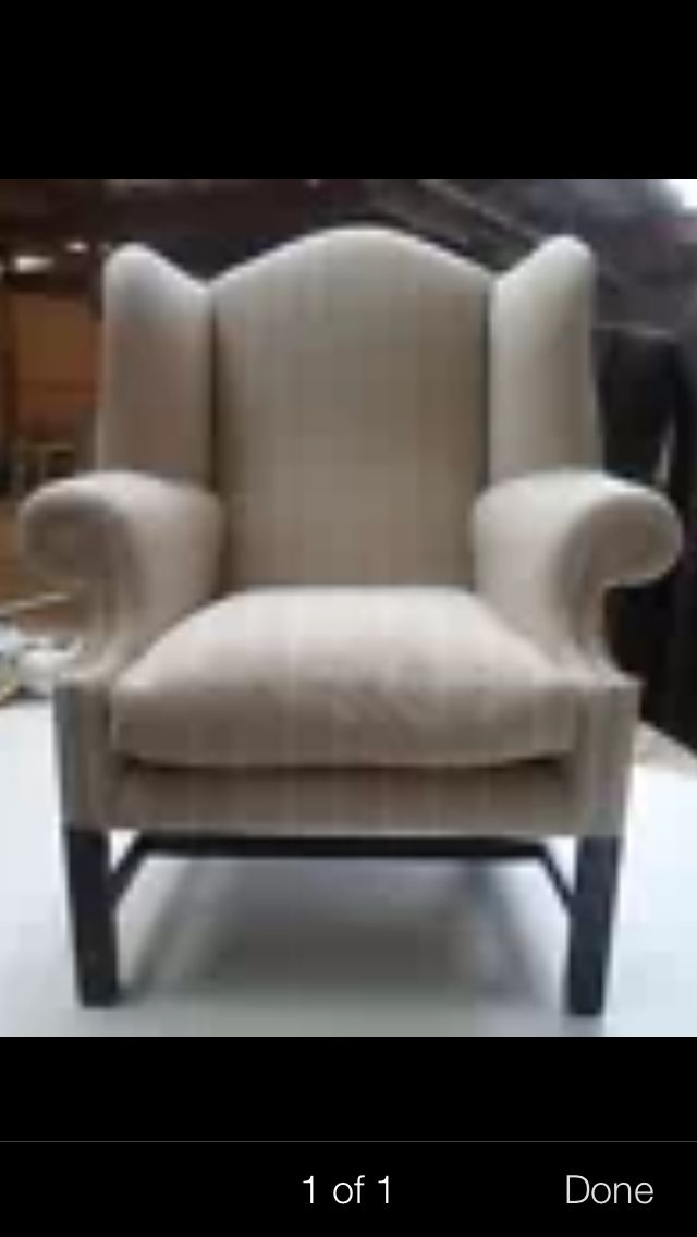 Great wing back chair. Looks very comfortable, but is it. Look better in leather but also nice in contemporary refurb cloth.