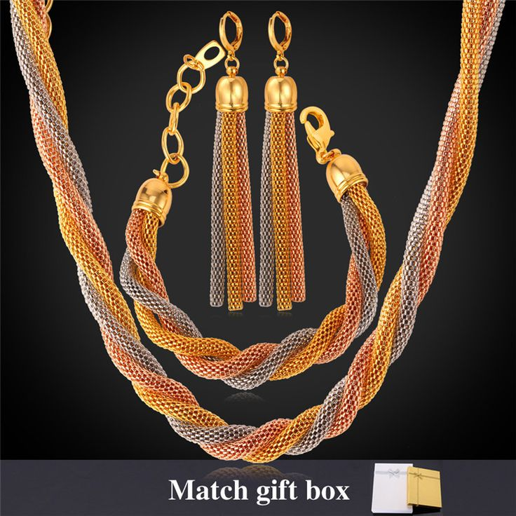 Cheap Jewelry Sets, Buy Directly from China Suppliers:                       Women Gold Chain Necklace Bracelet Earrings Set 18K Gold Rose Gold Plated 8MM 51CM 20""