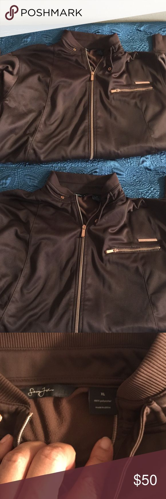 Barely worn men's brown Sean Jean track jacket Barely worn men's brown track jacket by Sean John XL collar and fitted at waist. Sean john Jackets & Coats
