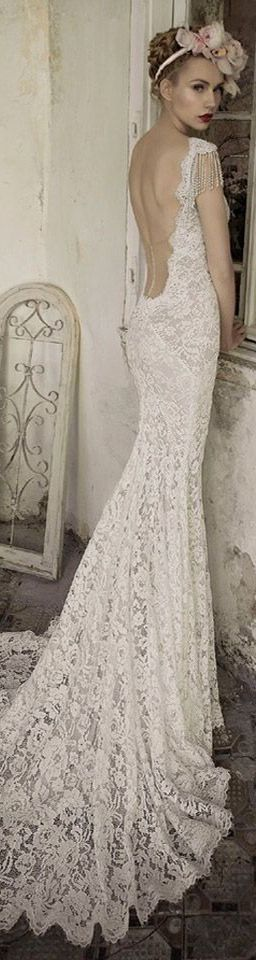 #lihi hod bridal jade lace wedding dress back view train