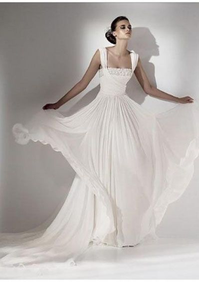 Chiffon Beaded Neckline with Ruched Bodice and Column Slim Skirt Custom Made Cheap 2010 Wedding Dress WD-0246 2011002792