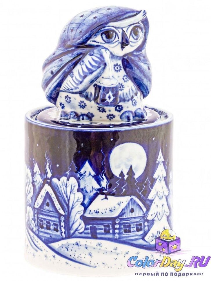 """подарочная шкатулка из фарфора """"Ночная Сова"""" в авторской росписи Гжель"""
