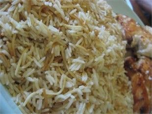 LEBANESE RICE (RIIZ BI SHARIEH). Sub olive oil for butter. Brown vermicelli then remove to drain. Sautee minced onion until translucent, then add rice to coat in oil. Add vermicelli with stock