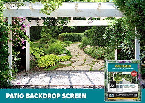 FenceScreen Garden with Stone Path Decorative Gazebo Patio & Garage Door Backdrop Screen 9 x 7