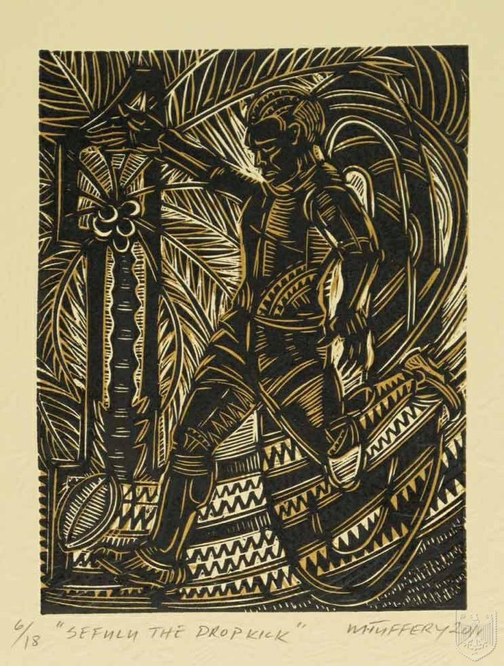 Sefulu, The Dropkick by Michel Tuffery (NZ), 2011. Embossed woodblock print on Pescia paper