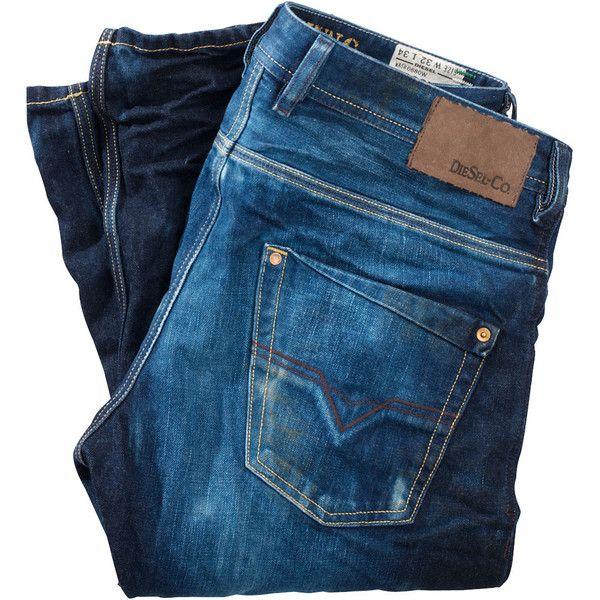 Diesel Jeans Straight Leg ($270) ❤ liked on Polyvore featuring jeans, pants, bottoms, pantaloni, men, 5 pocket jeans, diesel jeans, straight leg jeans and blue jeans