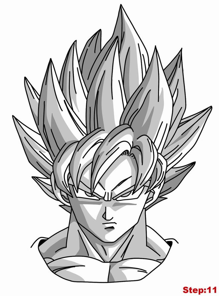 Drawing Goku Super Saiyan from Dragonball Z Tutorial Step 11