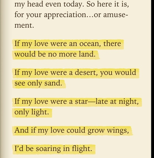 If my love were an ocean, there would be no more land.