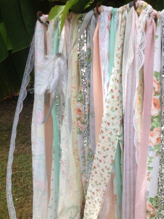 Boho Backdrop Tribal Curtains Peach Mint Gray Rag Curtain 7 Ft Long Aztec Ribbon  Curtain Wedding Garland