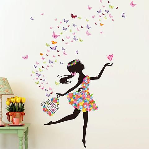 Wall sticker for kids Flower girl with flying butterflies