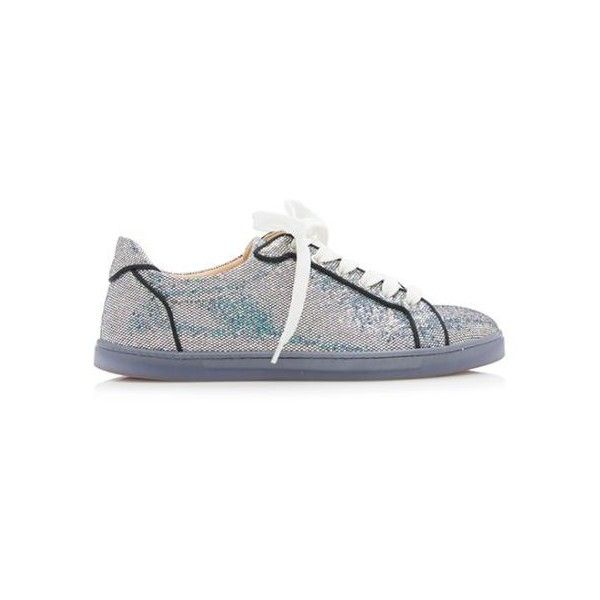 Pre-Owned Christian Louboutin Glitter Seava Disco Sneakers ($550) ❤ liked on Polyvore featuring shoes, sneakers, silver, glitter sneakers, silver trainers, glaze shoes, red sole shoes and christian louboutin shoes