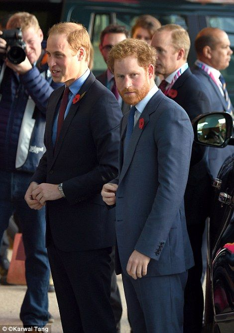 Thousands of rugby fans including Princes William and Harry (pictured) and Prince Philip have descended on Twickenham this afternoon ahead of the final of the Rugby World Cup