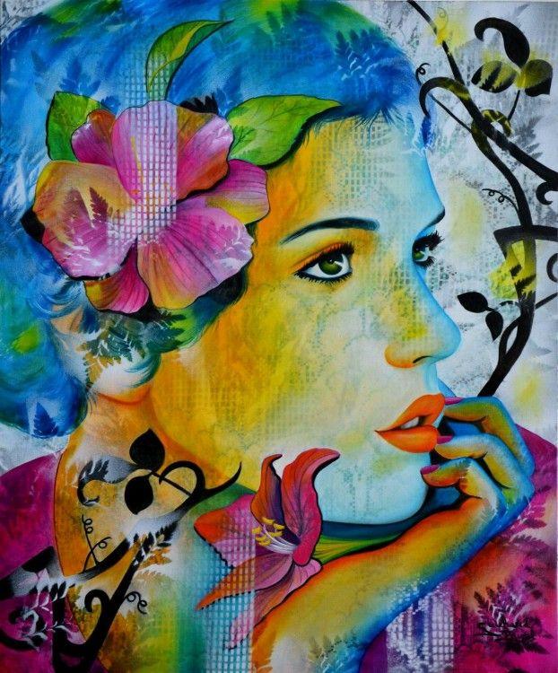 c'était ainsi... - Painting,  54x65 cm ©2014 par Jeannette Guichard-Bunel -  Peinture