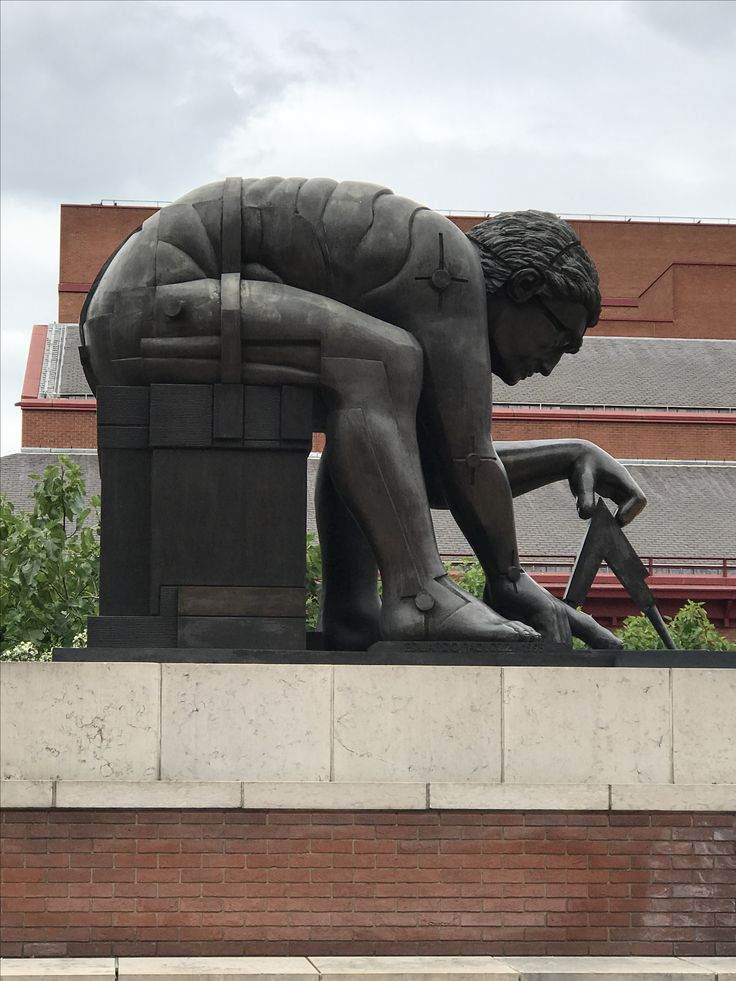 Statue at entrance of British Library.