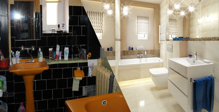 Small bathroom before and after, Deante.