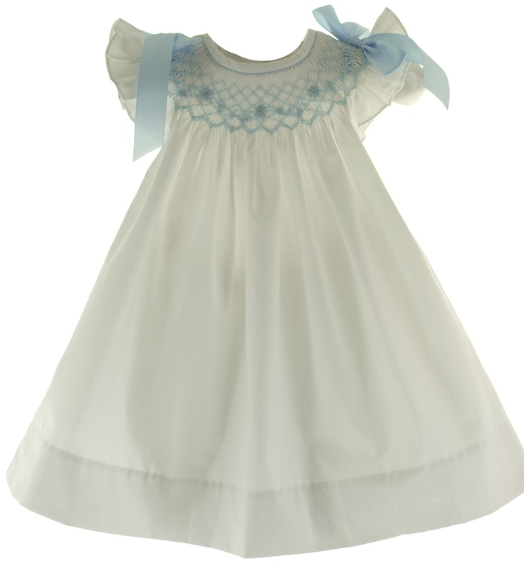 Bow Peep Infant Girls White Smocked Angel Bishop Dress with Blue Smocking & Bows