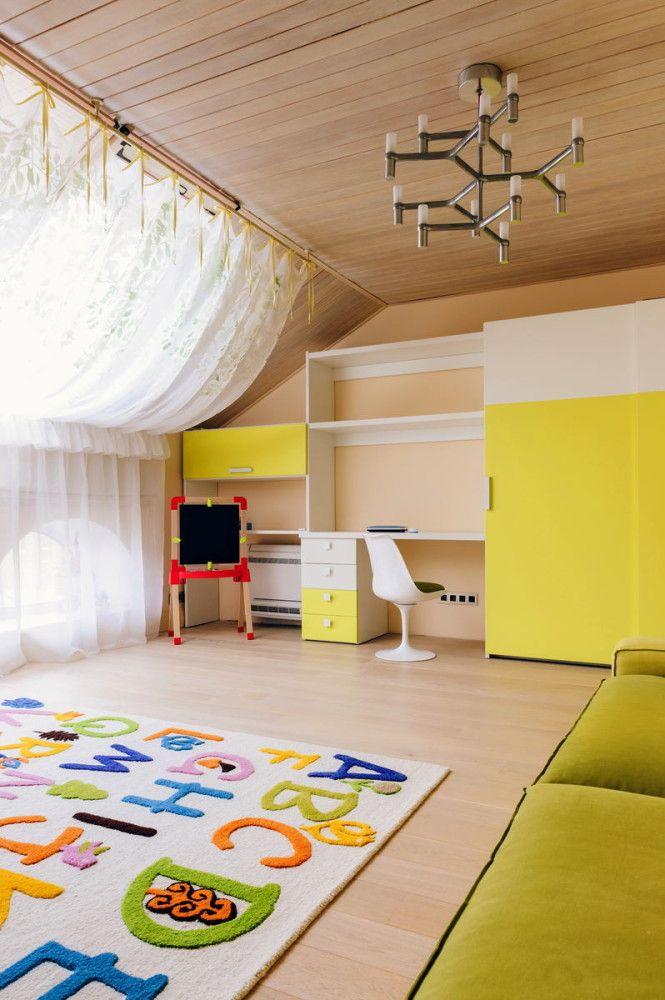 Детская в цветах: лимонный, салатовый, бежевый. Детская в стиле минимализм.