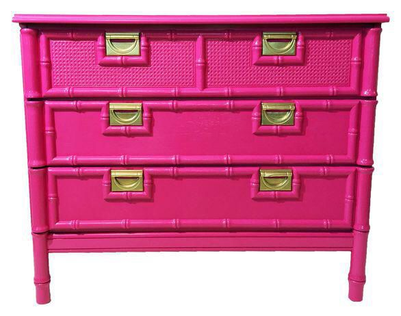 Vintage Faux-Bamboo Pink Chest of Drawers on Chairish.com