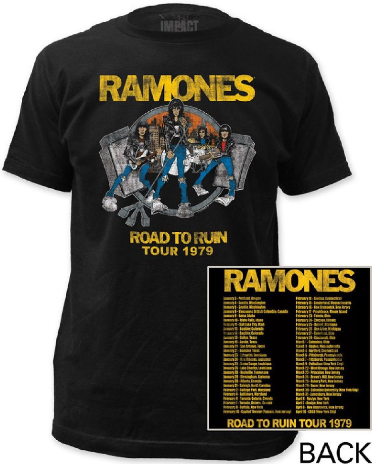 This vintage Ramones tshirt is from the band's 1979 Road to Ruin Tour. Featuring the Road to Ruin album cover artwork on the front, the back of the shirt displays the dates and cities of each show's performance. Made from 100% cotton, our men's black concert tee is created with washed out distressed effects to the graphics for an authentic vintage look.