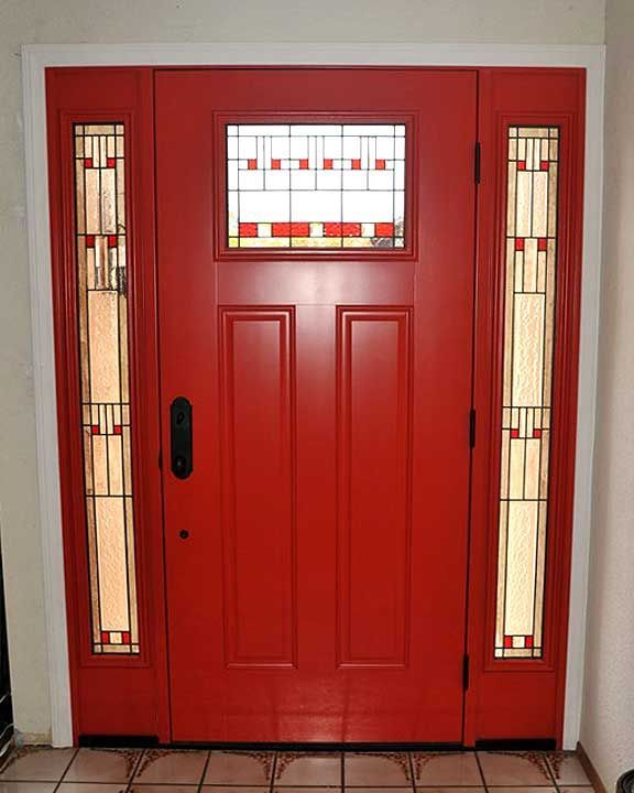 red door. red stained glass accents