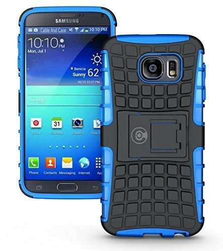Galaxy s6 Case By Cable And Case Galaxy s6 Armor Cases- Compatible With Samsung Galaxy s6 SIV S IV [SM-G920F] - Soft/Hard Shell 2 in 1 Tough Protective Cover Skin - Blue S6 Case