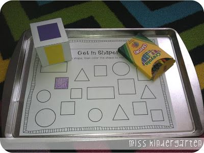 Cooking Up a Great Year! {back to school centers} Getting in Shape! The kids will roll the shape cube and color in the corresponding shape