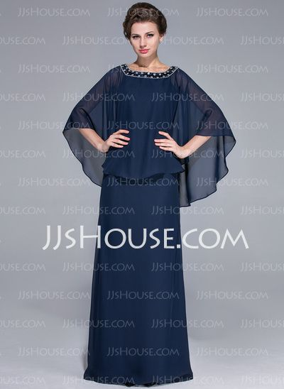 Mother of the Bride Dresses - $134.49 - A-Line/Princess Scoop Neck Floor-Length Chiffon Charmeuse Mother of the Bride Dress With Beading (008025717) http://jjshouse.com/A-Line-Princess-Scoop-Neck-Floor-Length-Chiffon-Charmeuse-Mother-Of-The-Bride-Dress-With-Beading-008025717-g25717