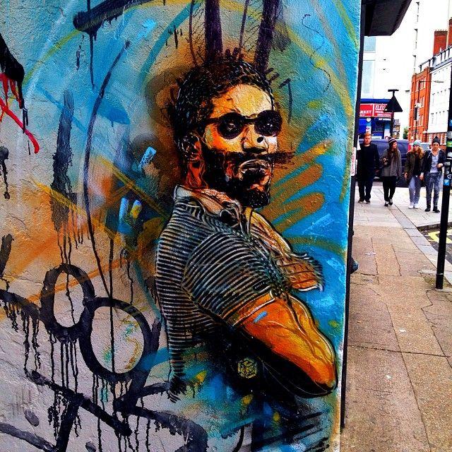 Man in a polo shirt by #c215 Pritchards Row #graffiti #streetart #wallart #londongraffiti #londonstreetart