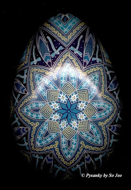 Pysanky, Pysanka blue Ukrainian Easter Egg by So Jeo.