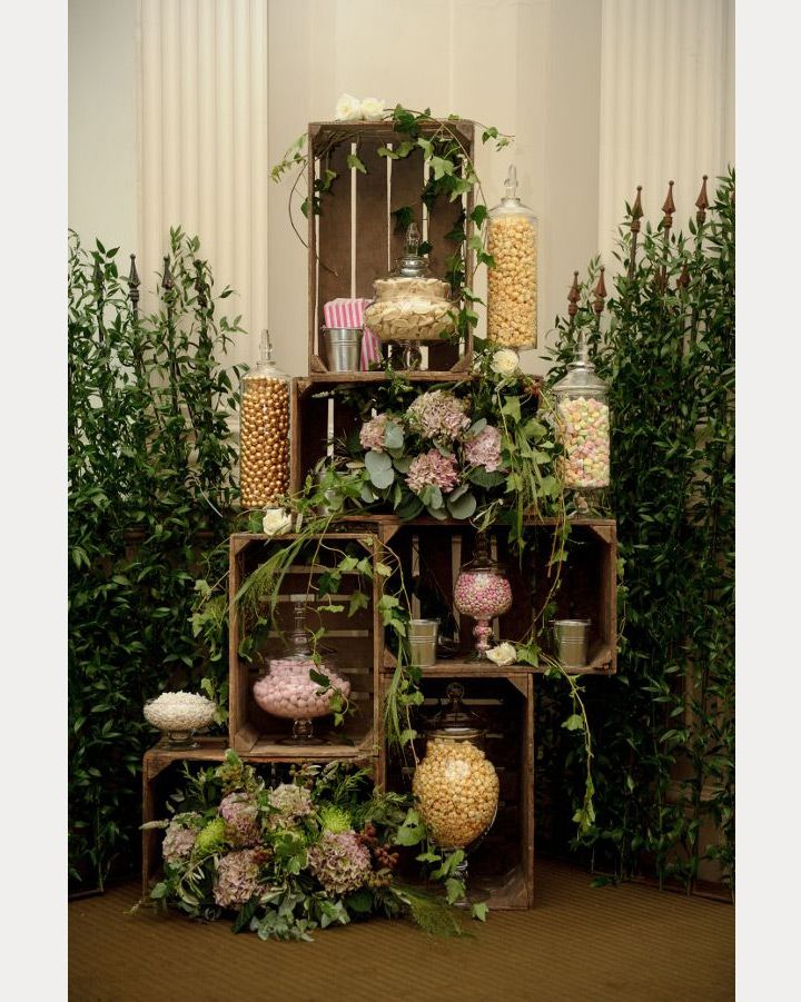 Obviously this is a styled shoot and not a real wedding....Love this look, but to be honest...I'd be terrified to touch it. Not  very practical for a self-serve candy bar area, especially the jars on the ground!  I'd set this up on a table surface, and be sure to have scoops to use with the apothecary jars filled with candy.