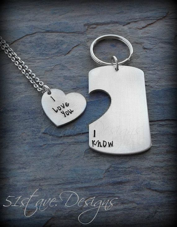 I Love You I Know keychain and necklace set hand by 51stAveDesigns