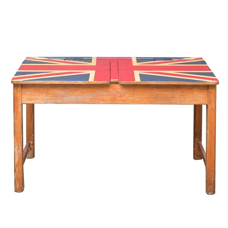 Refinish a table top by painting a flag on it. Maybe Mexico and not the UK.