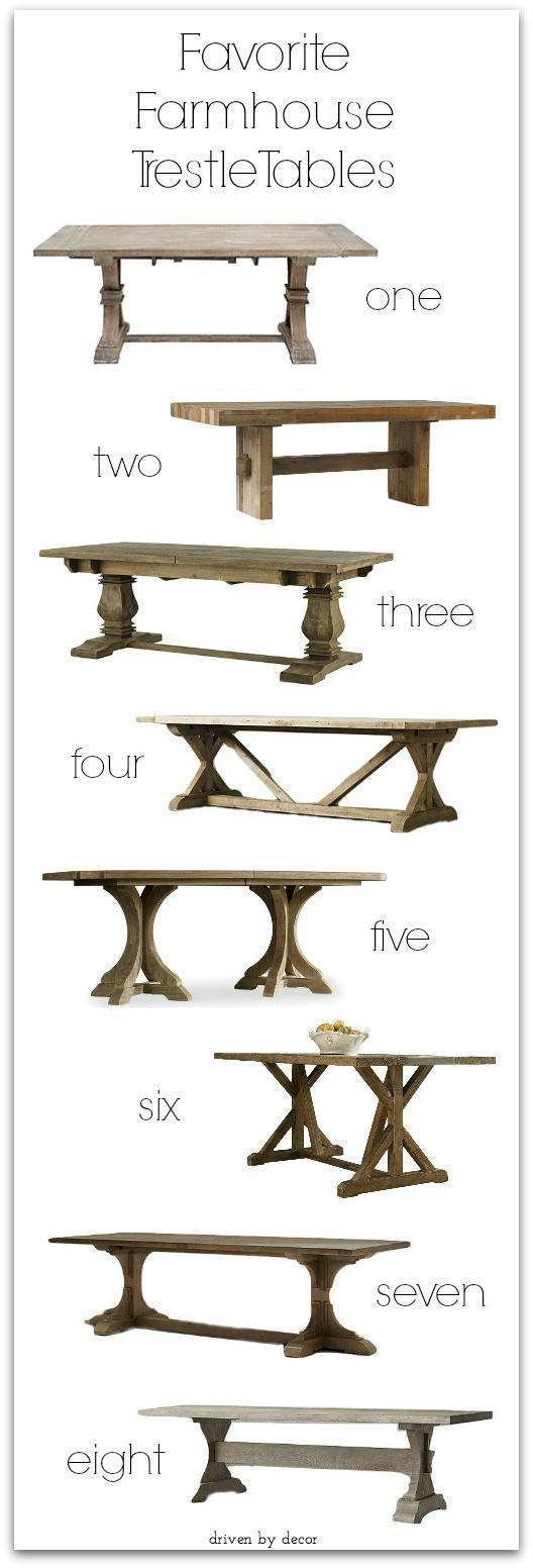 Favorite Farmhouse Trestle Tables (& Progress on Our Kitchen Banquette) - Driven by Decor