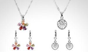 Groupon - Conjunto de plata 925 con cristales Swarovski Elements en diseño a elección. Incluye despacho. Precio Groupon: $12.990