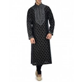 Embroidered Black Kurta Set