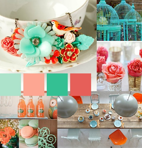 Aqua and coralColors Combos, Birds Cages, Mint Palettes, Color Palettes, Bathroom Colors, Google Search, Colors Palettes, Colors Schemes, Coral Weddings