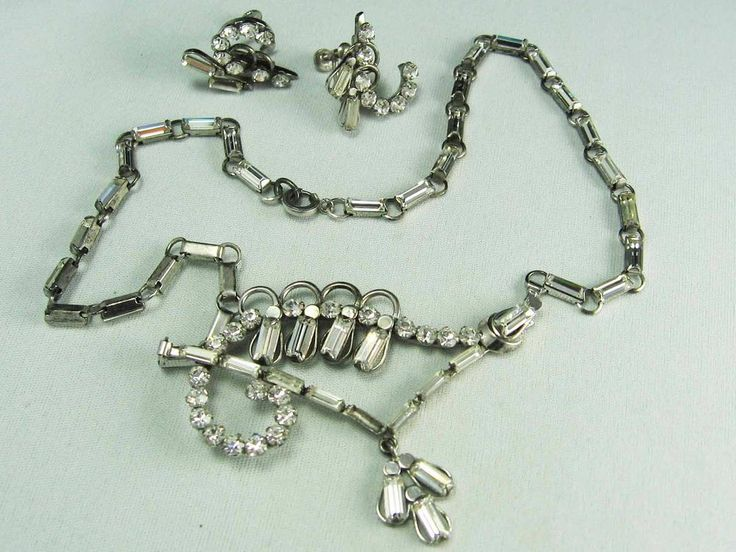 OLD Vintage Sterling Silver Sparkling Ice Rhinestone Necklace & Earrings Set #FS