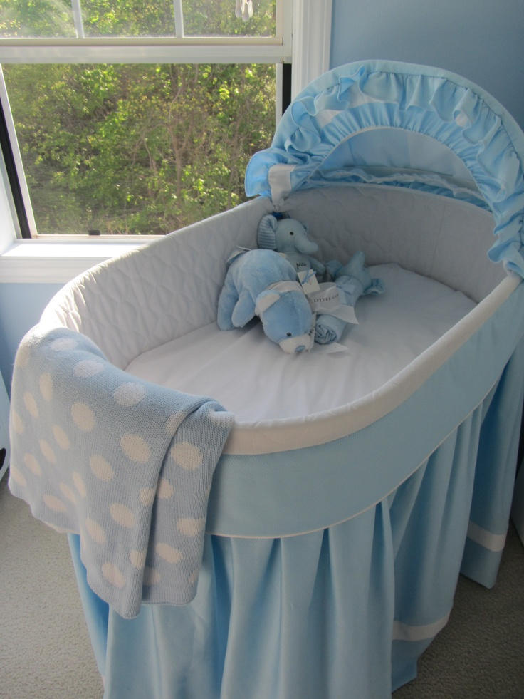 Bassinet with handmade blue bedding. Bassinet blue, baby boy nursery, Kimberly Kus, baby boy room, blue and white nursery