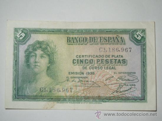 billete banco de españa 5 cinco pesetas 1935 serie c ebc: Cinco Pesetas, Peseta 1935, 1935 Series, Pesetas 1935, La Peseta