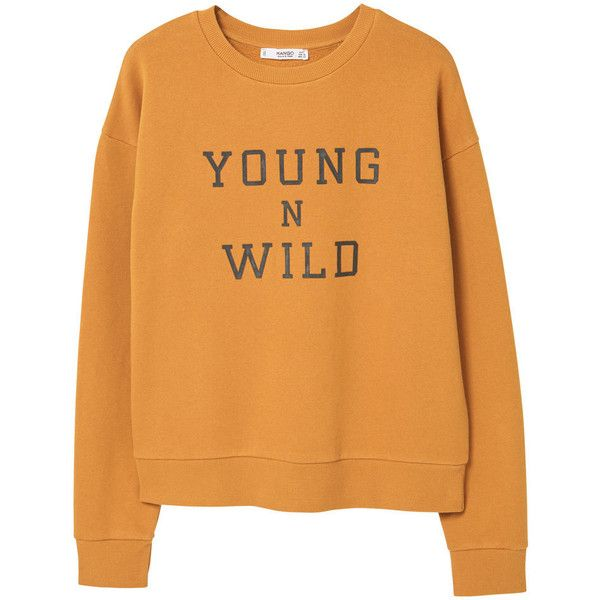 MANGO Message Cotton Sweatshirt (146115 PYG) ❤ liked on Polyvore featuring tops, hoodies, sweatshirts, shirts, sweaters, sweatshirt, pattern long sleeve shirt, extra long sleeve shirts, print sweatshirt and print long sleeve shirt