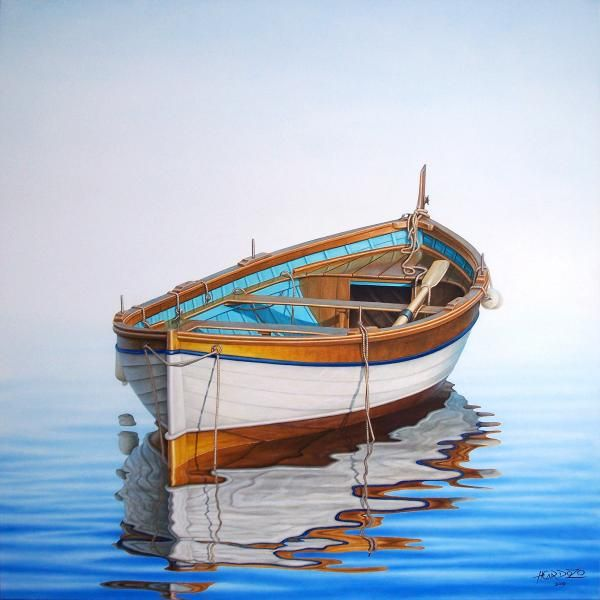 """Solitary Boat on the sea"" oil on canvas painting By Horacio Cardozo."